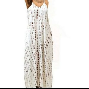 MAXI DRESS Dip Dye Sundress Side Pockets Small